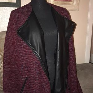 Purple, Red & black leather collared jacket